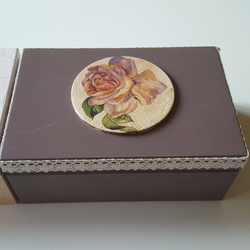 Wooden Jewelry Box Keepsake Box Little Box Box With Roses Gift For Her Wedding Ring Box Shabby Chic Box Christmas Gift Home Decor