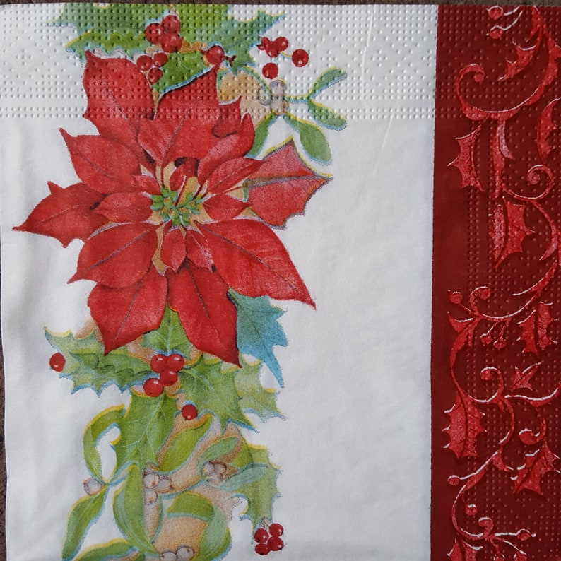 4x Paper Napkins for Decoupage Decopatch Craft Red Ornament