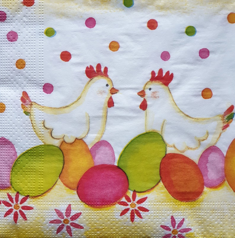 4 Single Paper Table Napkins for Decoupage Easter Eggs Chickens