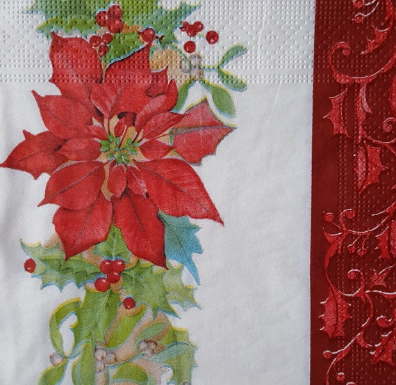 4 Lunch Paper Napkins for Decoupage Party Table Craft Vintage Merry Christmas 1