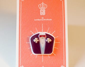 Mr. Gustave Pin / Brooch - The Grand Budapest Hotel / Mendls / Grand Budapest Hotel Jewelry / Wes Anderson Pin