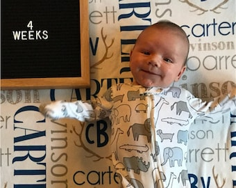 Personalized Baby Blanket, Baby Blanket with Name, Antlers, Baby Milestone Blanket