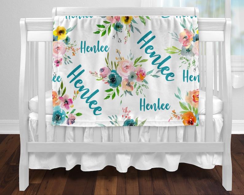 Baby Girl Personalized Baby Blanket Monogrammed Baby Blanket Nursery Blanket Floral Baby Name Blanket Crib Blanket
