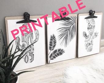 PRINTABLE black and white tropical trio