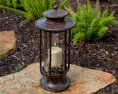 Large Decorative Hurricane Lantern, Glass Candle Holder, Cast Iron, Rustic, Indoor Outdoor Lighting, H Potter, Pool, Patio
