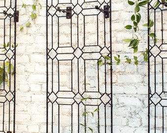 Wall Art Large Diamond Trellis With Brackets, Metal Garden Wrought Iron,  Outdoor Wall Decor By H Potter, Yard Art, Garden Gift, GAR258W1