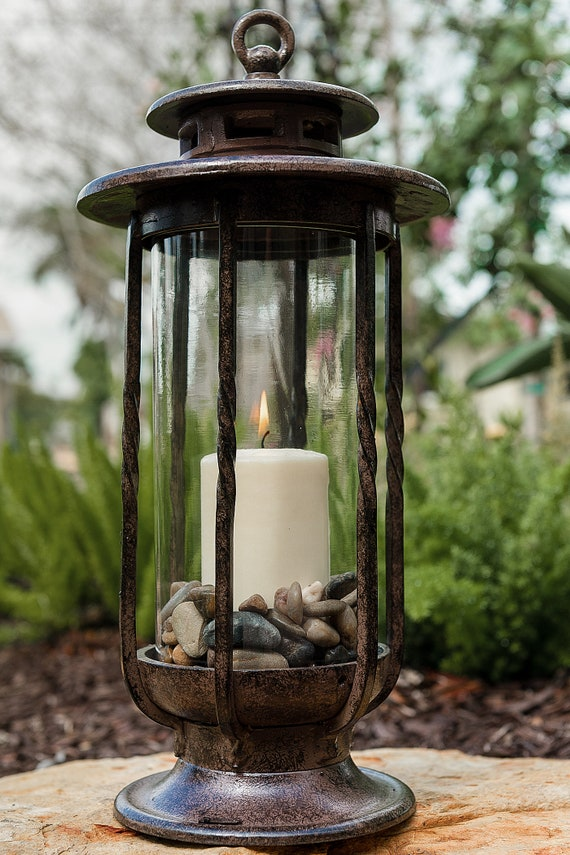 Decorative Hurricane Lantern Glass Candle Holder Cast Iron Rustic Indoor Outdoor Lighting H Potter Pool Patio Deck Decor Small