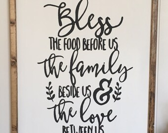 bless this food / framed wooden sign / farmhouse sign / home decor