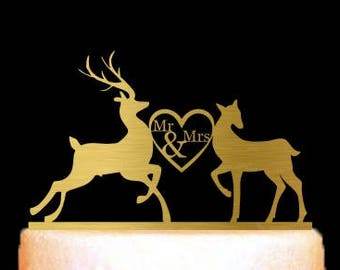 Deer Cake Topper, Deer Wedding Cake Topper Gold, Buck and Doe, Mr and Mrs Modern Cake Topper, Custom Wedding Decoration