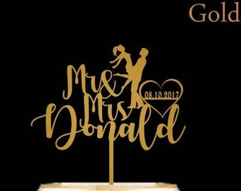 Cake Topper for Wedding with Last Name and Wedding Date - Custom Personalized Wedding Cake Topper Wooden or Acrylic Available in 12 Colors