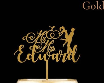 Personalized Wedding Cake Topper - Last Name Cake Topper with Bride and Groom, Mr and Mrs Cake Topper, Gold Wedding Cake Topper
