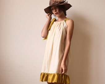 Yellow striped cotton dress with bow-dress with ruffles