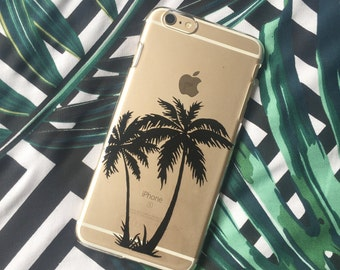 Unique tropical summer silhouette palm tree clear transparent phone cover case for iPhone and Samsung Galaxy