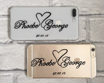 Wedding gift personalised couples matching clear phone cases hard or protective gel option for iPhone and Samsung 6 / 7 / 8 / X / 11 / 12 /