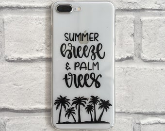 Summer breeze and palm trees clear phone case hard or protective gel option for iPhone and Samsung 6 / 7 / 8 / SE / X / Plus / 11 / 12 / S8