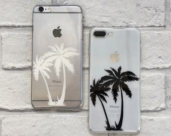 Palm Tree Silhouette clear phone case hard or protective gel option for iPhone and Samsung 6 / 7 / 8 / SE / X / Plus / 11 Pro / 12 / S8 / S9