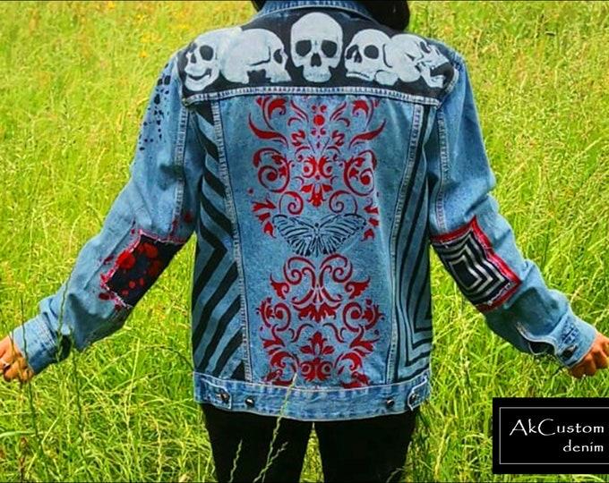 Skulls denim jacket, Unisex gothic denim Jacket, Hand-painted denim jacket, Custom skulls and patches denim Jacket, Gothic jean jacket