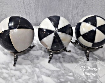 Decorative marble balls, Marble spheres, Black and white decorative balls, Set of 3 marble balls,Marble balls with holder, Decorative balls