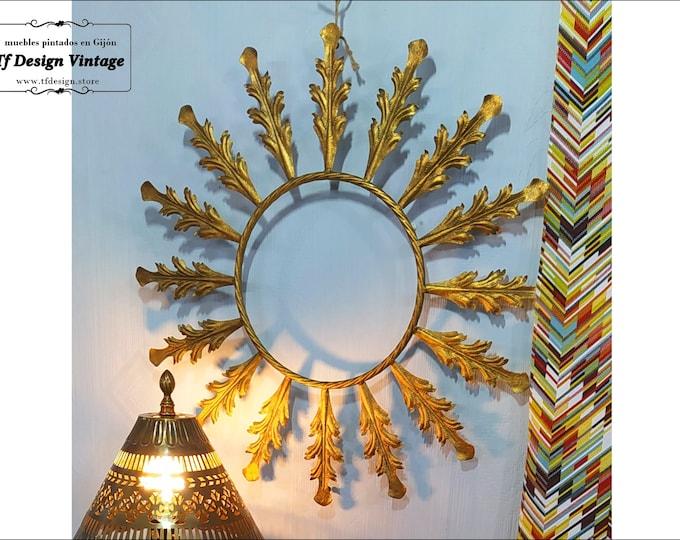 Metal wall ornament, Metallic gold flower, Boho wall decoration, Metal art to decorate, Original 65 cm wall ornament, Boho home decor ideas