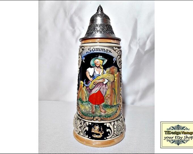 Beer Stein German, King Werk beer stein limited edition, Beer mug Four Seasons Series Summer, Beer stein with lid, Beer stein ceramic