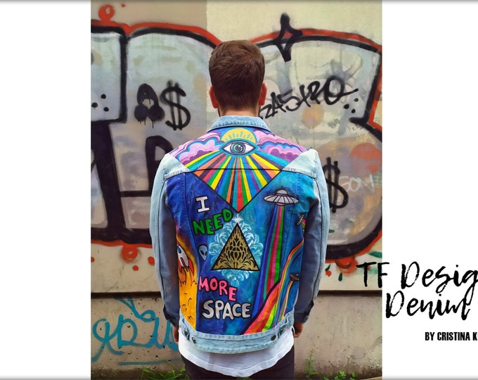 Featured listing image: Hand Painted Jeans Jacket, Unisex Jacket, Street Cloth, Exclusive Clothes, Custom Jeans, Hand Painted Jacket ALIENS LOVE PIZZA, Custom Jeans