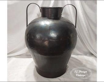 Metal vase, Large floor vase, Handmade metal vase, Wrapped Large floor vase, Handmade metal vase, Wrapped copper vase, Vintage Indian vase