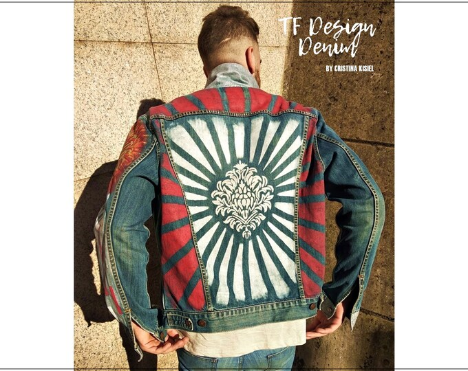 Featured listing image: Hand Painted Jeans Jacket, Men's Jacket, Street Clothes, Custom Denim, Custom Jeans, Hand Painted Jacket, Custom Jeans Clothes, Urban Jeans