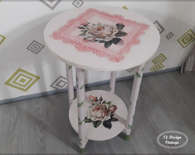 Small circular nightstand,Round coffee table,Side table round,Round bedside table vintage, Small round accent table,Painted pink table 40 cm