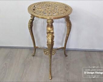 Art Nouveau bronze side table, Antique 1920s round table, Small round bronze end table, Art Nouveau round end table, Round bronze end table