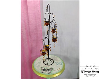 Wrought iron and glass Candelabra, Metal support for candles, Glass candle cups with handmade forge support, Tea light chandelier