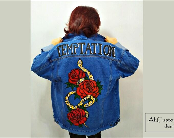 Oversize Hand Painted Denim Jacket, Unisex Denim Jacket Oversize, Denim Jacket with Roses, Jeans Jacket with snakes, Oversize Denim Jacket