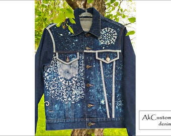 Denim jacket with Mandala, Painted denim jacket, Navy blue denim jacket, Unisex denim jacket, Original denim jacket
