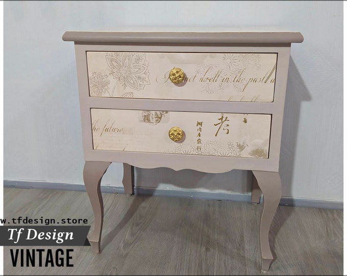 Original side table, Telephone table, Vintage table, Small bedroom table, 2-drawer table, Vintage style table with letters,