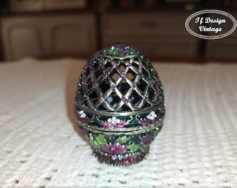 Faberge Egg Replica, Faberge Egg Jewelry Box, Faberge Egg, Russian Faberge style egg, Decorative egg, Metal carving Faberge egg