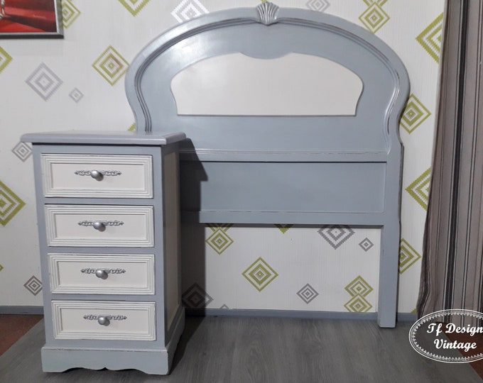 Set of youth bedroom, bedside table and headboard 90 cm, Vintage bedroom set, Painted bedroom furniture, coffee table and grey headboard