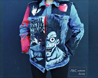 Death Note Denim Jacket, Anime Denim Jacket, Unisex Hand Painted Denim Jacket, Original Denim Jacket, Denim Jacket Customized Anime
