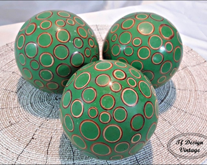 Decorative balls for bowls, Green decorative balls, Decorative orbs centrepiece, Green orbs for bowls, Set of 3 decorative balls