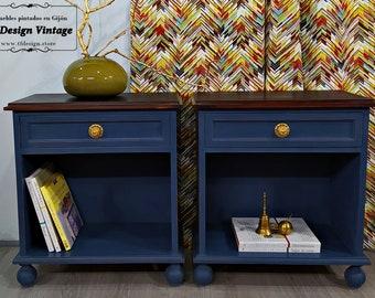Pair 2 mid century modern blue tables, Dark blue bedside tables, Original painted nightstands, Modern Blue nightstands, Wooden nightstands