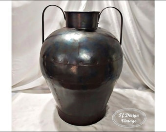 Metal vase, Large floor vase, Handmade copper vase, Wrapped Large floor vase, Antique metal vase, Brown metal vase, Vintage metal floor vase