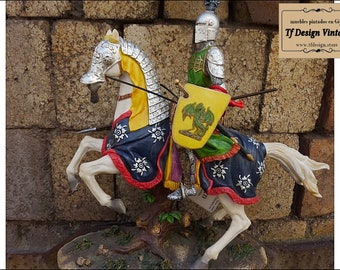 Statue of Medieval knight on horseback, Hand painted medieval knight figure, Medieval knight statue in armor, Medieval Knight riding a horse