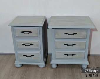 Pair of painted nightstands, Wooden nightstands, Asymmetrical bedside tables, Vintage-style nightstands, Pair of original bedside tables
