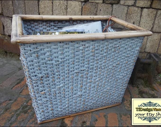 Bamboo Magazine Rack,Rattan Magazine Rack,Magazine rack floor,Unique magazine rack,Painted magazine rack,Gray magazine rack