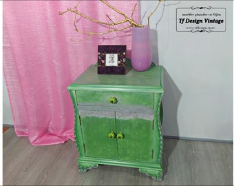 Vintage painted side table, Green painted wood table, Original Boho chic side table, Unique painted bedside table, Original nightstand