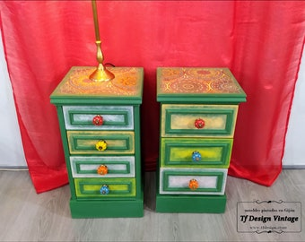 A pair of colorful nightstands, Indie-style bedside tables, Small bedside tables, Pair of original bedside tables, Small green nightstands