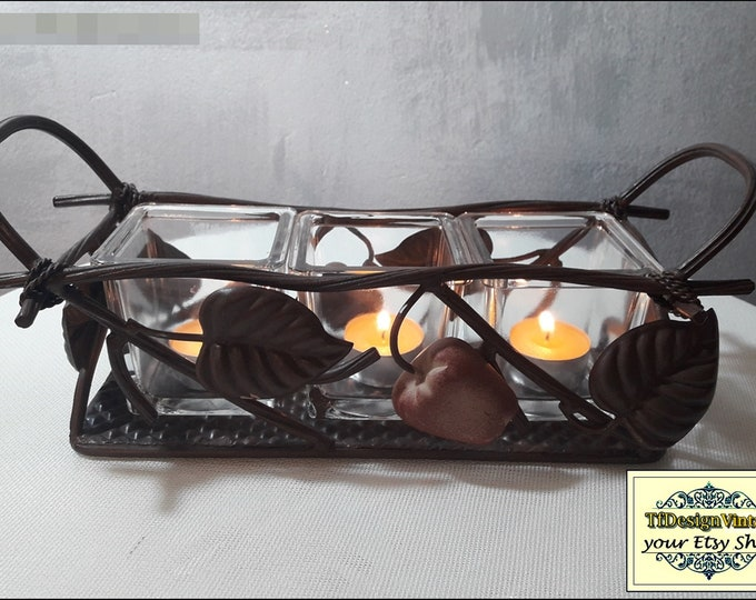 Metal and glass candle holder,Candle holder metal,Votive holder for candles,Candle decorating,Glass candle cups with handmade forge support