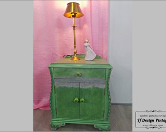 Vintage painted Boho cabinet, Green painted wood table, Original Boho chic side table, Unique painted bedside table, Original nightstand