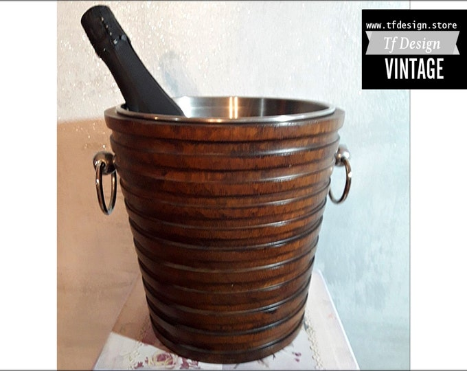Ice bucket, Champagne cooler bucket, Mango wood and stainless steel cooler, Luxury Champagne cooler, Champagne bottle cooler, Wooden cooler