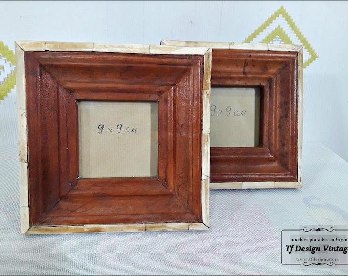 Single photo frame 9x9 cm, Original photo frame, Wood leather and bone photo frame, Ethnic photo frame, Square photo frame wood