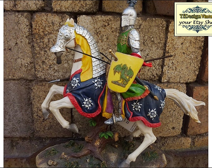 Knight with horse, Medieval statue, Medieval Knight figurine, Medieval Knight armor statue, Medieval Knight on horse, Figure on horse