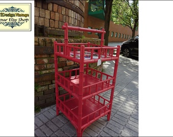 Mesa auxiliar madera y bambú, Mesa auxiliar cuadrada, Mueble auxiliar con baldas, Mueble auxiliar rojo, Estantería pequeña suelo 40x40x90 cm